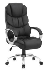 WHITE High Back Leather Office Chair Executive Office Desk Task Computer Chair