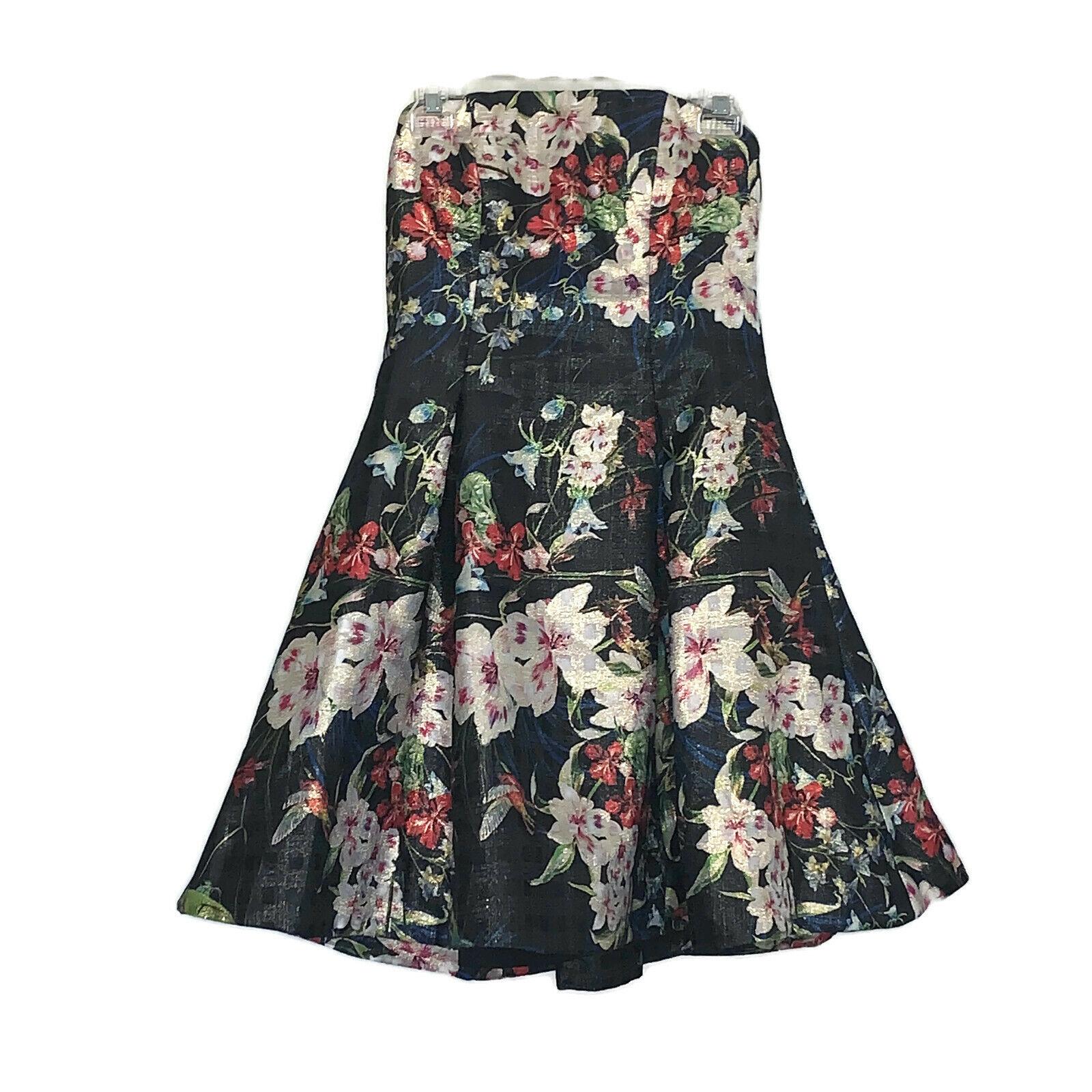NICOLE MILLER Designer Dress Größe Small 8 schwarz Floral Strapless Midi Party