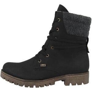 Details zu Rieker Mombasa Filz Schuhe Damen Stiefelette Boots Stiefel black 78531 00