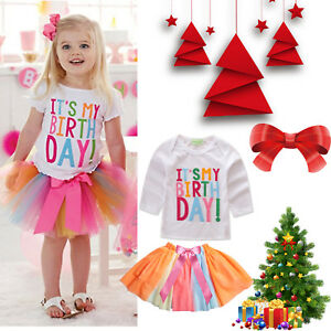3e52b17c4 Baby Girl Toddlers It's My Birthday T-Shirt Tutu Skirt Dress Party ...
