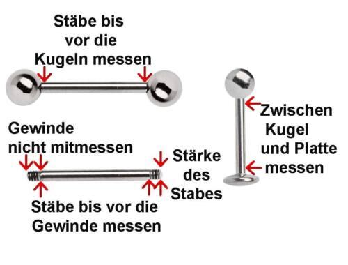 Titan Piercing Schmuck Stab Barbell 1,6mm mit 2 Verschluss Kugeln in 4-22m Länge
