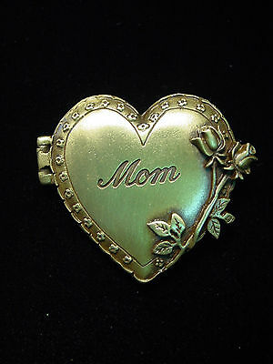 """JJ"" Jonette Jewelry Bronze Pewter Heart & Roses 'MOM' Photo Locket Pin"