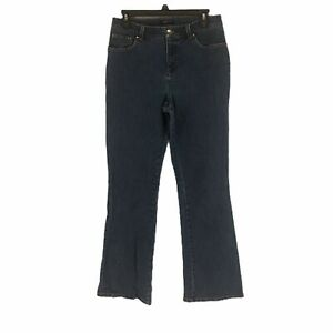 Jones-New-York-Womens-Blue-Stretch-High-Rise-Straight-leg-Denim-Jeans-Size-6