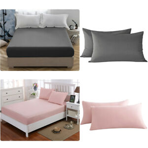 Fitted-Sheet-Bed-Sheet-Zipper-Pillow-Case-Bedding-Cover-Soft-Comfort-Solid-Color