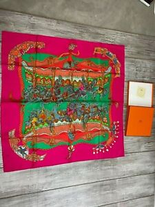 Hermes Scarf Carres90 TOURNEZ MANEGE merry-go-round horse Tiger Red Pink  in Box