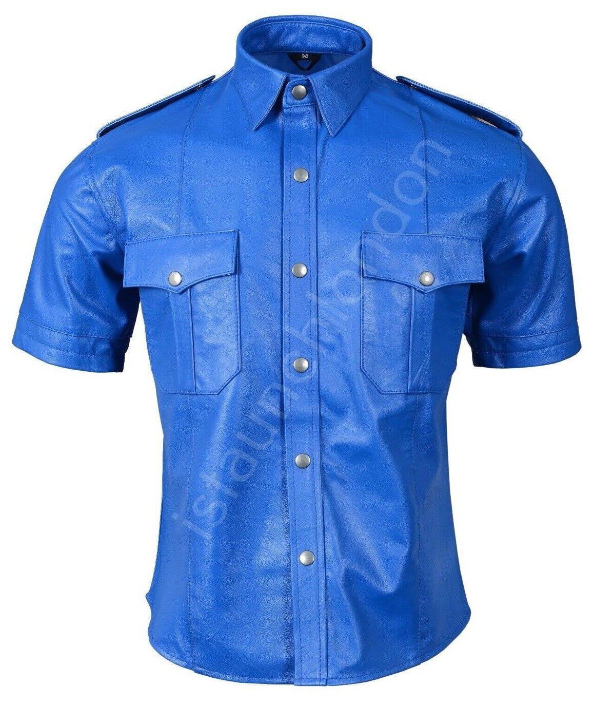 Mens Hot Genuine Real bluee Sheep Lamb LEATHER Police Uniform Shirt blueF Gay