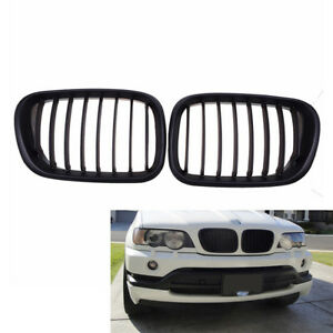 2x-For-BMW-X5-E53-Black-Front-Center-Grille-Grill-Kidney-Hood-99-03-Replacement