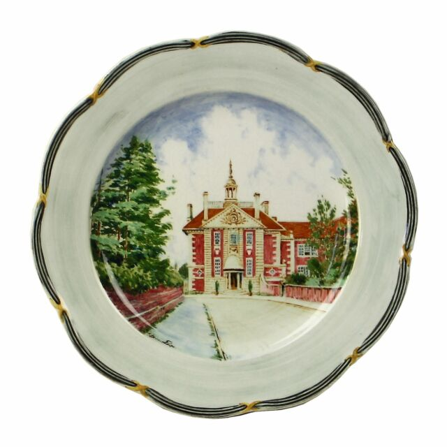 Spencer Edge Hand Painted Vintage Lady Margaret Hall Oxford Souvenir Plate c1900
