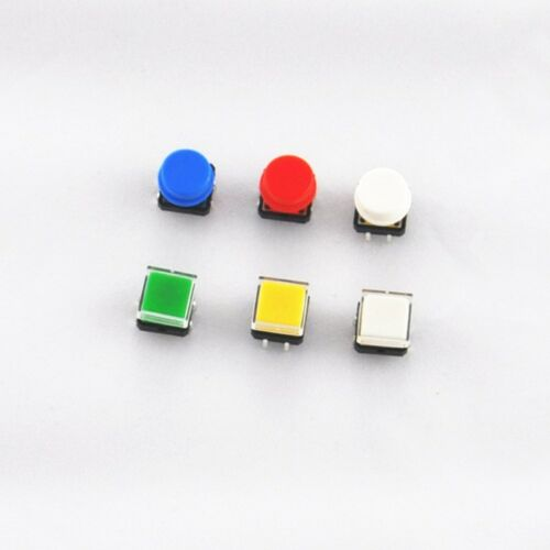30Pcs Tactile Push Button Switch Momentary Tact /& Cap 12x12x7.3mm KeyCaps Kit
