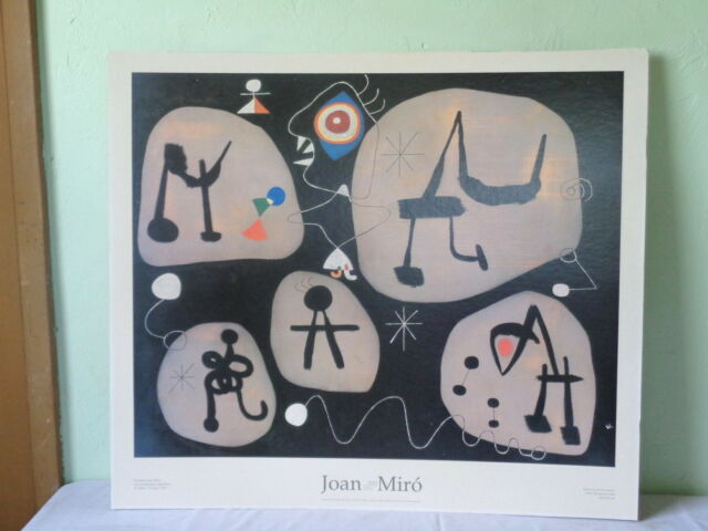VINTAGE 1993 JOAN MIRO WOMAN LISTENING TO MUSIC GALLERY EXHIBITION POSTER BOARD