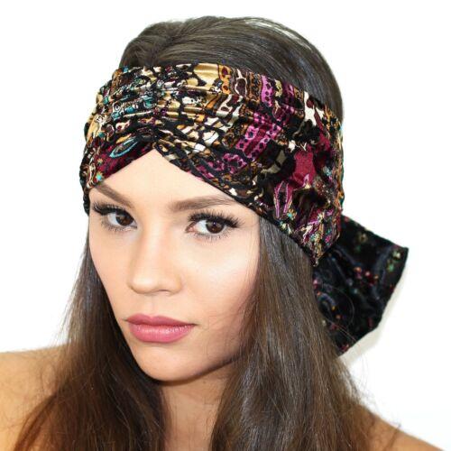Kristin Perry Velvet Burnout Bow Turban Headband Knit Hat