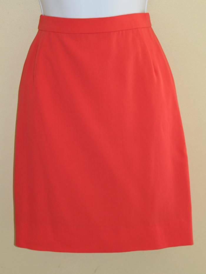 ESCADA Margaretha Ley VTG 90s Hot Coral Pink Wool Mini Pencil Skirt Sz 36