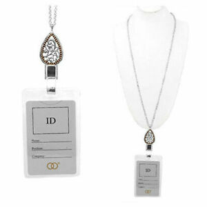 Teardrop-Designer-Filigree-Scroll-ID-Badge-Tag-Key-Card-Holder-Necklace-Lanyard