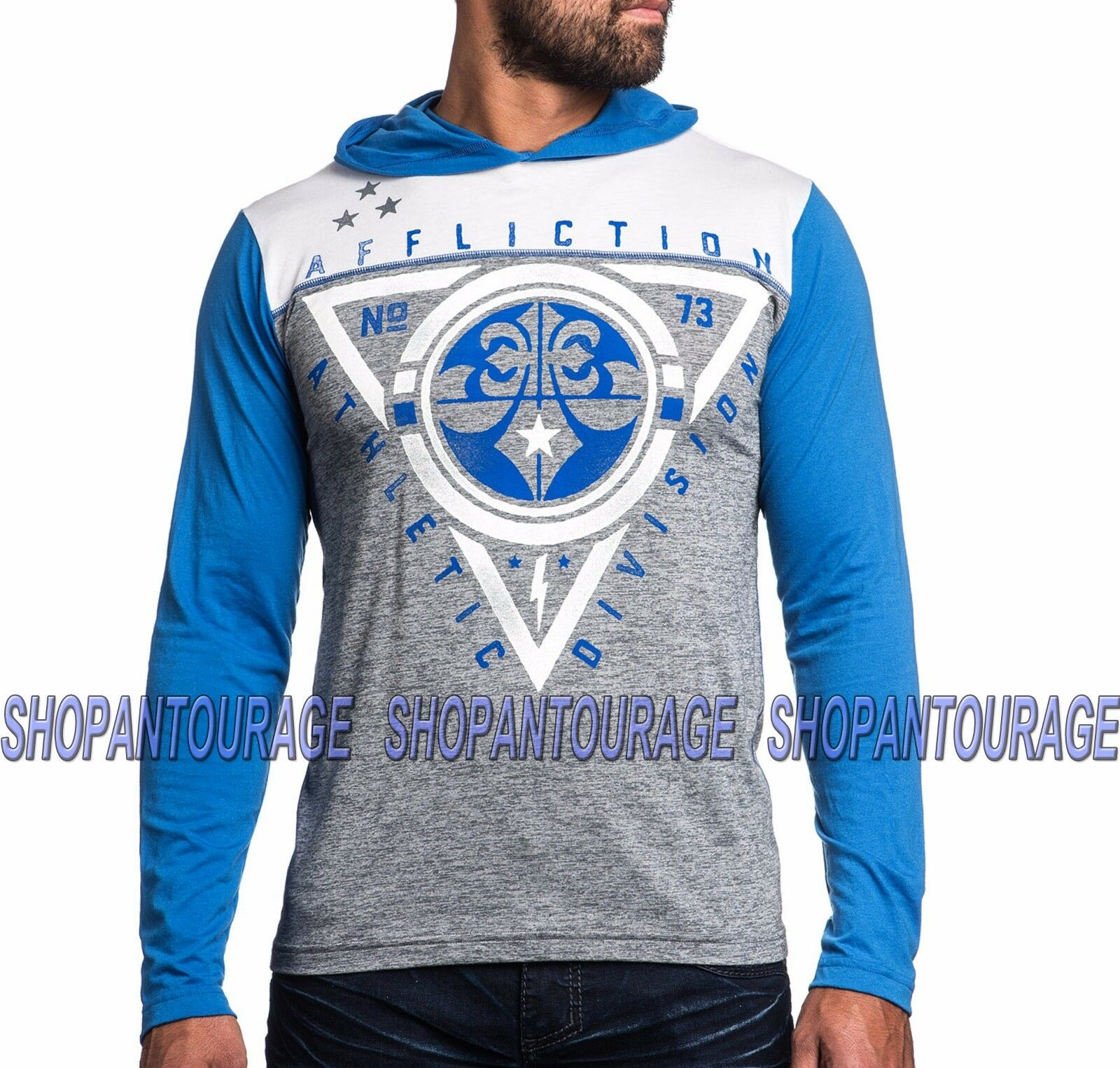 AFFLICTION SPORT Athletic Division AS14777 New Men`s Weiß Long Sleeve T-shirt