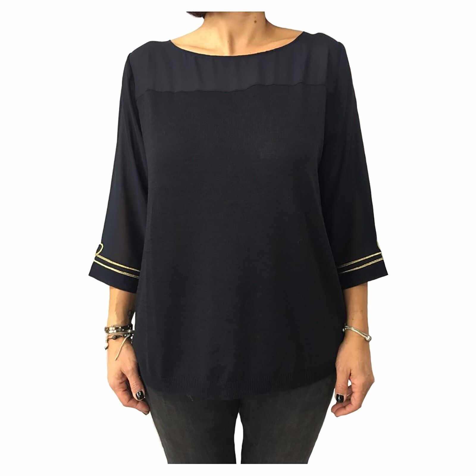 La fee maraboutee Pull Femme Bleu avec Broderie or 20% Laine Made IN  5159