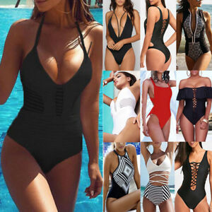 2f7ad8207b Details about Women's HOT Swimming Costume Padded Monokini Swimsuit  Swimwear Push Up Bikini UK