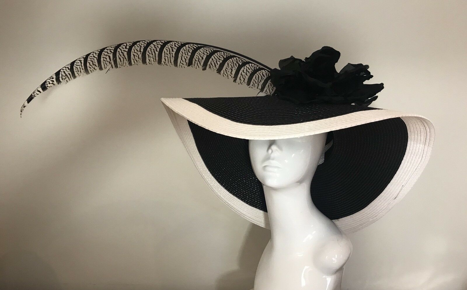 Exclusive Black & White Millinery by Hat Couture Wedding Bridal Race Hat