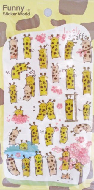 Funny Sticker World Lovely Giraffe Epoxy Sticker Sheet~KAWAII!!