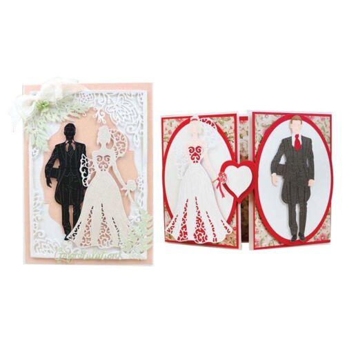 Swovo Wedding Couple Hollow Scrapbook Craft Dies Metal Cutting Die CUT 3D DIY