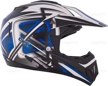 New LARGE Kimpex CKX TX529 Off Road Motocross Helmet Blue /& White #1941