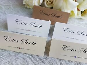 Image Is Loading Personalised Wedding Name Cards Place White Ivory