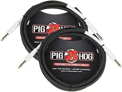 "2-Pack PIG HOG 10 foot ft 1/4"" STRAIGHT GUITAR INSTRUMENT CABLE PH10 NEW"