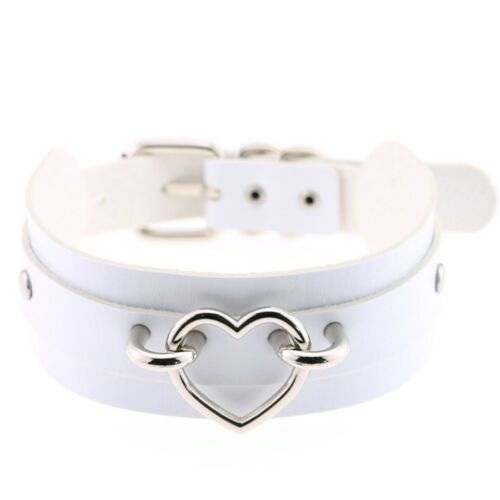 Pu Leather Coker Heart Collar Bondage Goth Choker Women Belt Necklace Punk
