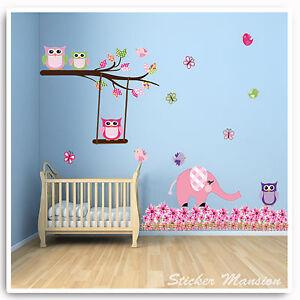 Owl-Animal-Wall-Stickers-Jungle-Elephant-Pink-Nursery-Baby-Girl-Bedroom-Decal