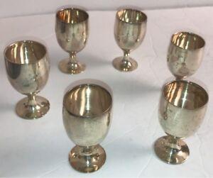 Vintage-Leonard-EPNS-Miniature-Goblet-Cordial-Toasting-Set-3-034-Cups