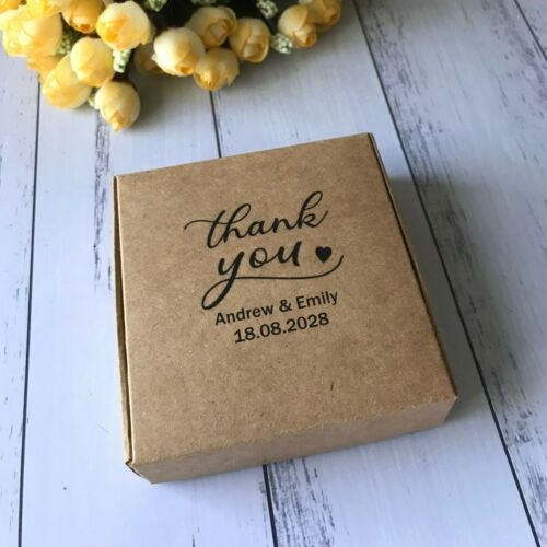 40x White Kraft Thank You Wedding Favor Boxes for Guests Personalised Gift Boxes