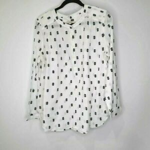 Ann-Taylor-LOFT-White-Black-Polka-Dot-Long-Sleeve-Popover-Blouse-Womens-Large