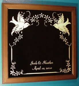 Details About Two Lovebirds Etched Glass Mirror W Wood Frame Personalized Custom Names Date