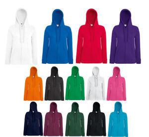 Details zu Fruit of the Loom Lightweight Hooded Sweat Damen Kapuzenjacke Sweat Jacke