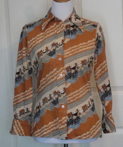 Vintage 70s Disco Era Novelty Polyester Blouse Ms.