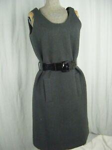 GEOFFREY-BEENE-Vtg-60-70s-Designer-Charcoal-Wool-Sheath-Mod-Dress-Bust-37-XS-S