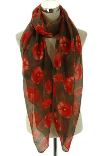 Fashion Red and Brown Summer Scarf Poppy flower pattern printed scarf