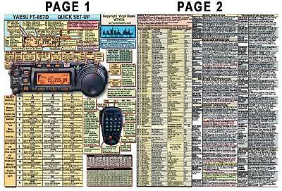 YAESU FT-857D FT-857 AMATEUR HAM RADIO DATACHART MANUAL INFO PAGE SZ (INDEXED)