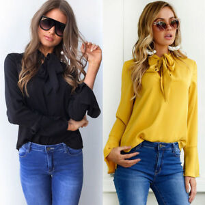 Damen OL T-shirt Riemchen Chiffon Tops Hemd Blusen Oberteil Shirt Business Hot L