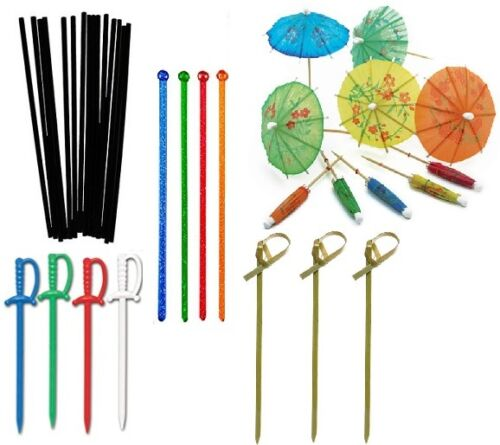 Straws /& Stirrers 5-Piece LOT Entertaining Bundle Cocktail Tooth Picks
