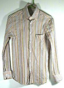 1-400-ZILLI-Mens-Blue-Peach-Apricot-Silk-Slim-Fit-Shirt-XS