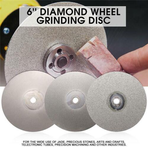 "3PCS 6/"" 120 400 1200 Grit Diamond Wheel Coated Grinding metal stone Disc Tray"