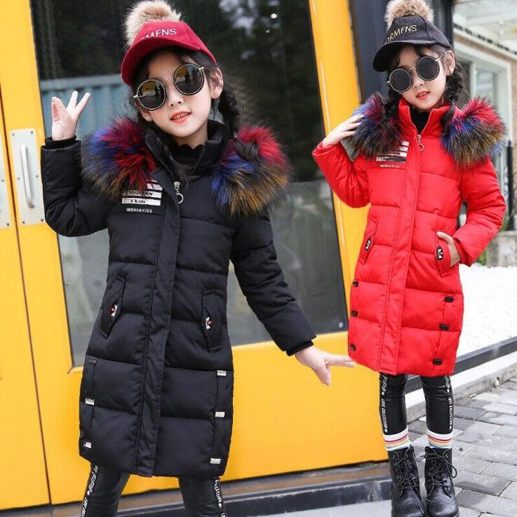 Winter Kinder Mädchen Pelz Kapuze Hoodie Stepp Jacke Mantel Parka Trench Coat