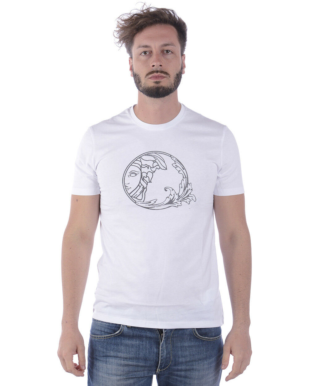 Versace Collection T Shirt Sweatshirt Cotton Man White V800683SVJ00277 V7001