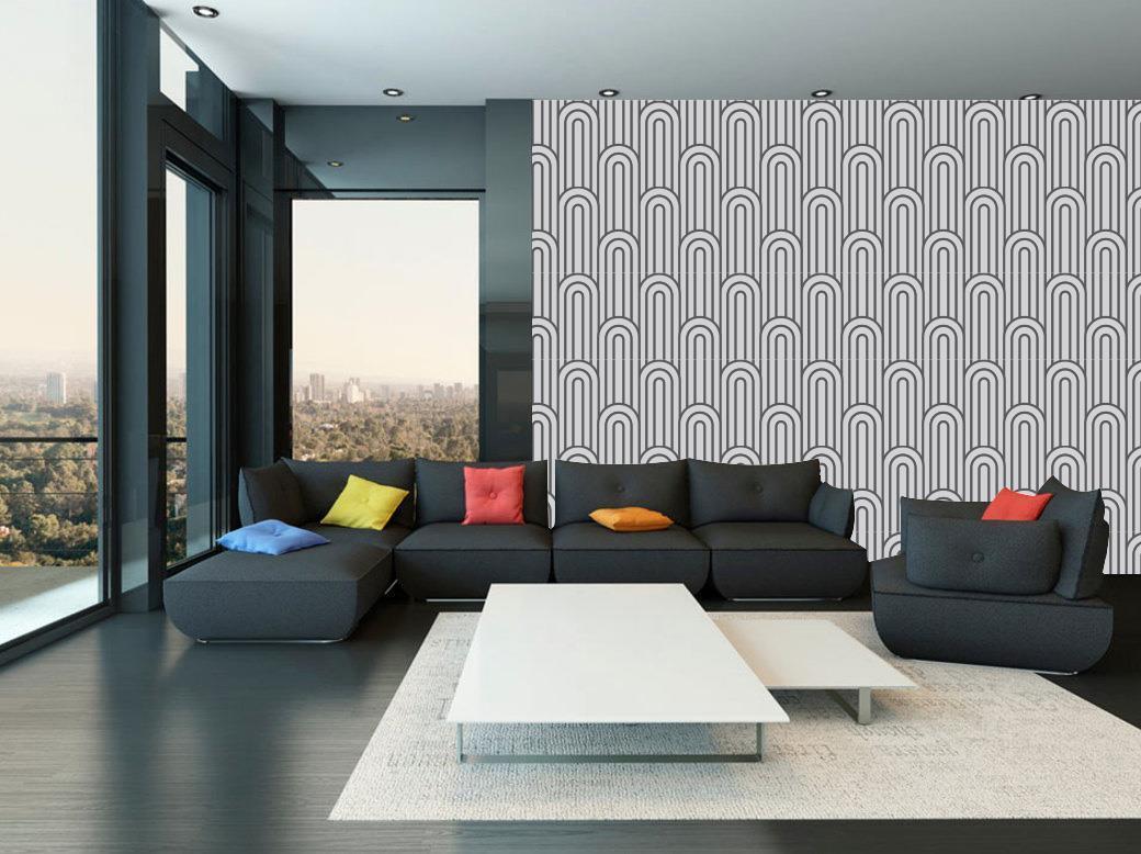 Oval Japanese Motif Pattern Wallpaper Woven Self-Adhesive Wall Art Mural T21
