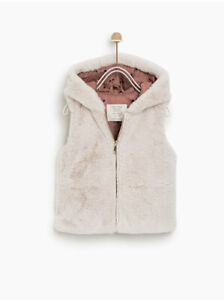 Zara Baby Toddler Girl Faux Fur Hooded Vest Soft With Bear ...