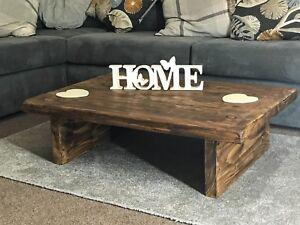 coffee table rustic wood home low chunky handmade wooden ebay rh ebay co uk handmade wood end tables handmade wood end tables