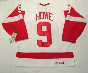 GORDIE-HOWE-sz-LARGE-Detroit-Red-Wings-CCM-550-VINTAGE-series-Hockey-Jersey-wht