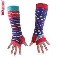 United Oddsocks Purple Long Arm Warmer Sleeves Spots & Stripes Fingerless Gloves