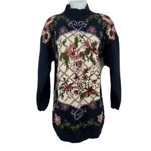 Jennifer-Reed-Vtg-Sweater-Long-Sleeve-Hand-Knit-Floral-Mock-Neck-Size-L