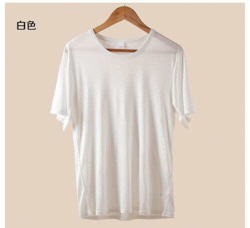 100/% Silk Knitted T-Shirt Short Sleeve Comfort Tee Solid Tops Mens Casual Shirts